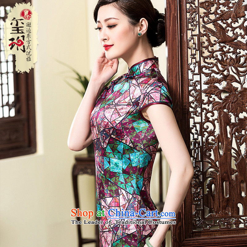 The seal of the爏pring and summer of 2015, diamond heavyweight silk cheongsam dress improved Sau San retro herbs extract female qipao picture color燲XL