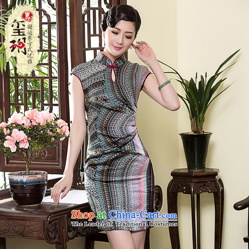 The Seal of 2015 heavyweight Silk Cheongsam Ms. short-sleeved Stylish retro daily improved temperament, dresses skirt picture color M