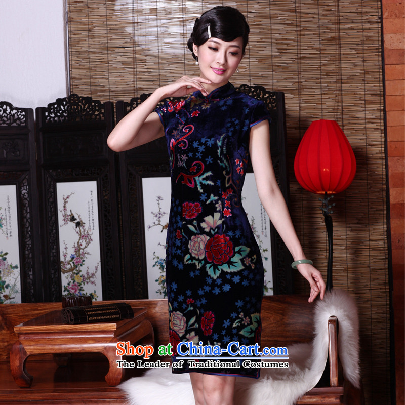 The seal of the?spring and summer of 2015, new upscale Silk flower lint-free annual herbs extract qipao gown cheongsam dress photo banquet color?XL