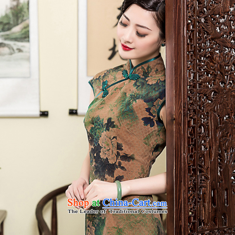 The seal of the cloud of incense may 2015 Ms. long retro look elegant qipao improved silk dresses short-sleeved summer picture color燤 pre-sale 15 Days