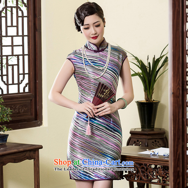 The Seal of 2015 heavyweight silk Chinese national short-sleeved Silk Cheongsam Shanghai republic of korea wind, herbs extract pictures qipao color燬