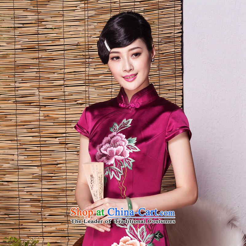 The Seal of 2015 high-end summer manually push embroidered heavyweight silk cheongsam dress suit the Republic of Korea Shanghai embroidery retro skirt wine red燲XL