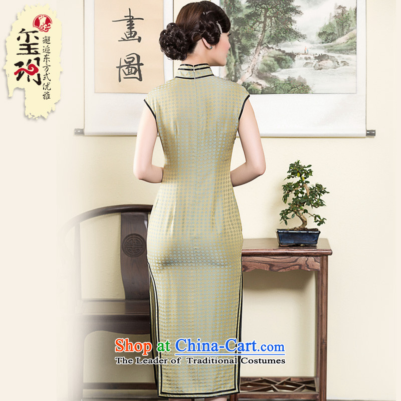 The Seal of 2015 heavyweight silk incense cloud long high on yarn fork qipao double-banded heavy industry improved picture color L, Ms. dress seal of , , , shopping on the Internet