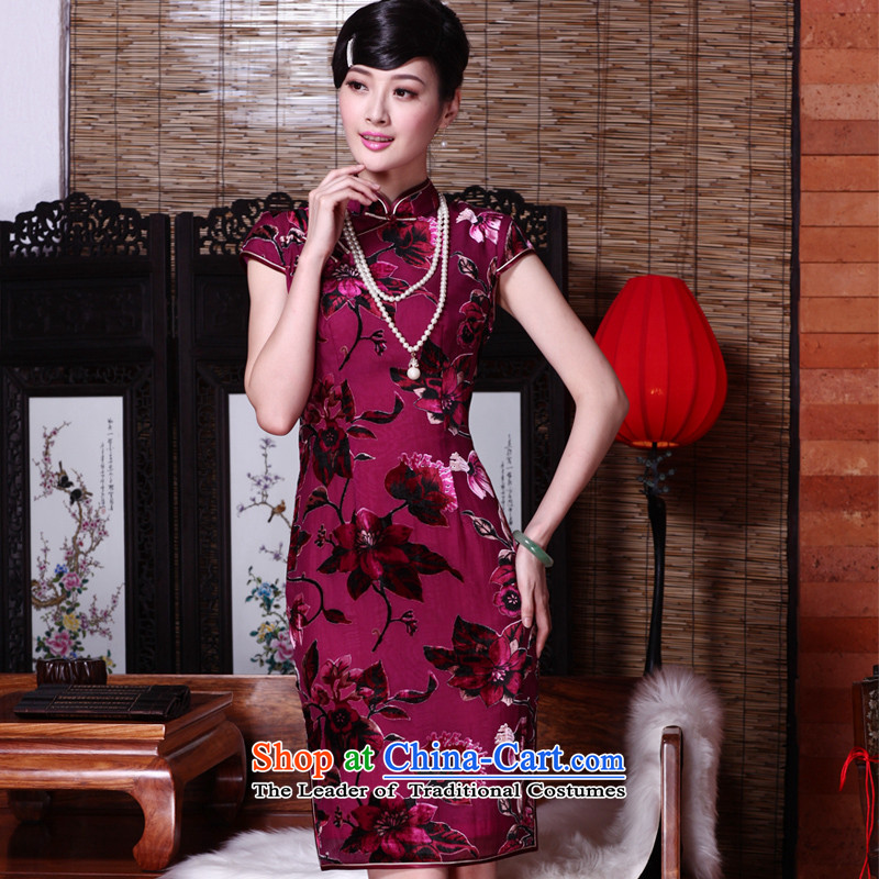 The seal of the?spring and summer of 2015, New cheongsam dress really scouring pads Sau San video thin sepia pictures of the Republic of Korea Daily elegant qipao color?XXL