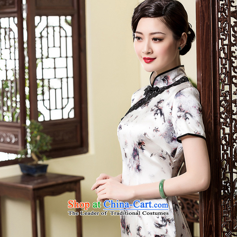 The seal of the?spring and summer of 2015, the new Silk Cheongsam dress of nostalgia for the Republic of Korea improved lace edge elegant and exclusive cheongsam picture color?M pre-sale 20 Days