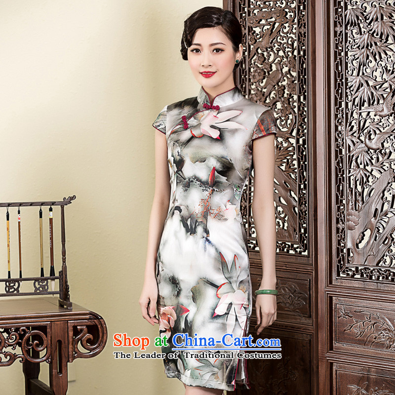 The Seal of 2015 ink Lotus Silk Cheongsam daily, Sau San elegance cheongsam dress improved picture color XXL