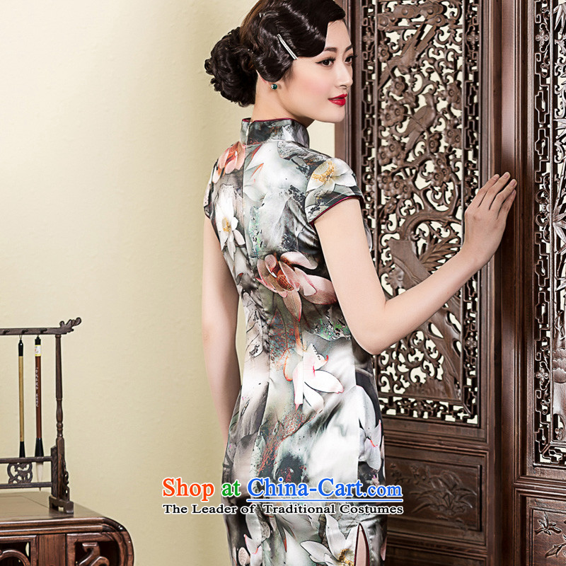 The Seal of 2015 ink Lotus Silk Cheongsam daily, Sau San elegance cheongsam dress improved picture color XXL, seal decreased by , , , shopping on the Internet