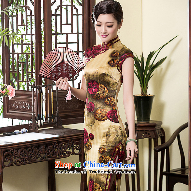 The seal of the original silk in long elegant qipao Ms. retro herbs extract summer daily dress skirt picture quality color燣