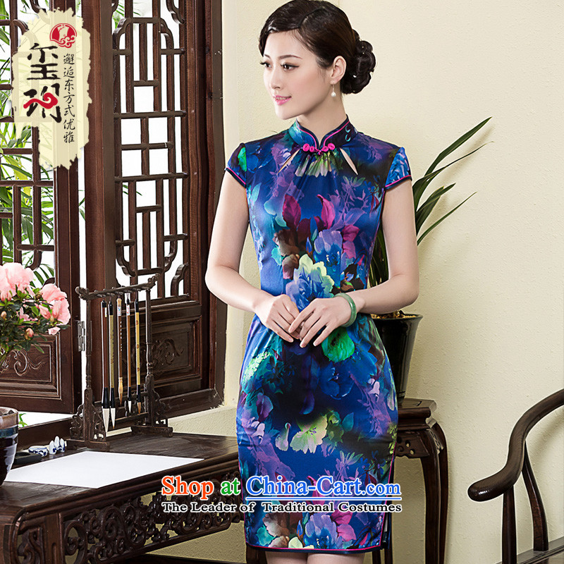 The seal of the?new 2015 Silk Cheongsam aristocratic improved day-to-day annual national banquet retro elegant qipao skirt picture color?M