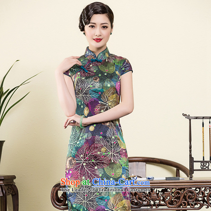 The seal of the?spring and summer of 2015, New heavyweight Silk Cheongsam art stamp improvements banquet Ms. everyday dress picture color qipao?L
