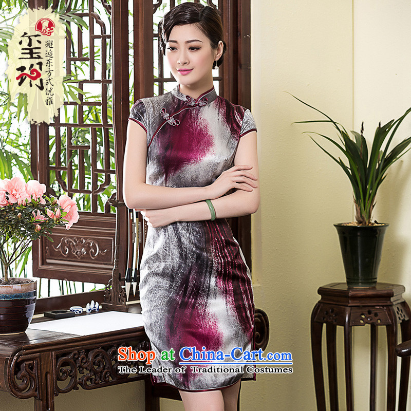 The seal of the spring and summer of 2015, the new republic of korea heavy silk cheongsam dress of the forklift truck cheongsam dress Chinese pictures retro- XL