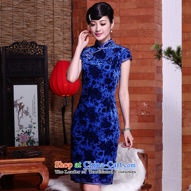 Seal of 2015 summer, upscale Silk Cheongsam cheongsam dress herbs extract improved short of daily retro style female picture color M