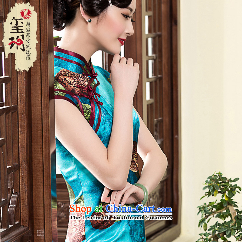 ?The spring of 2015 of a new seal, banquet high-end cheongsam look stamp elegant qipao Ms. short-sleeved improved skirt picture color?L 20 days pre-sale