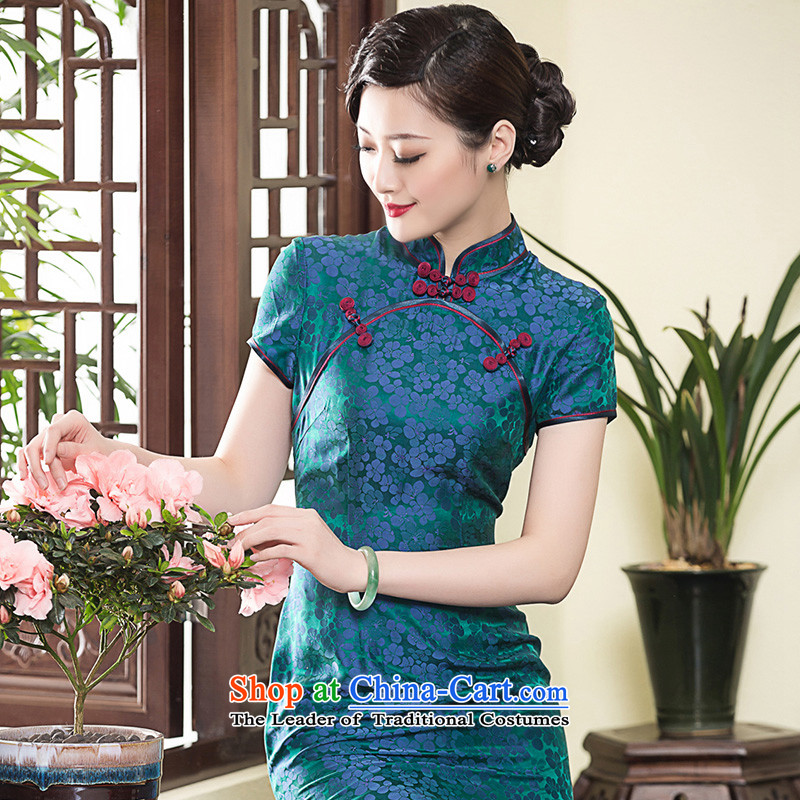 ?In the summer of 2015, seal long incense cloud yarn Silk Cheongsam short-sleeved improvement of ethnic Chinese cheongsam dress photo color?M