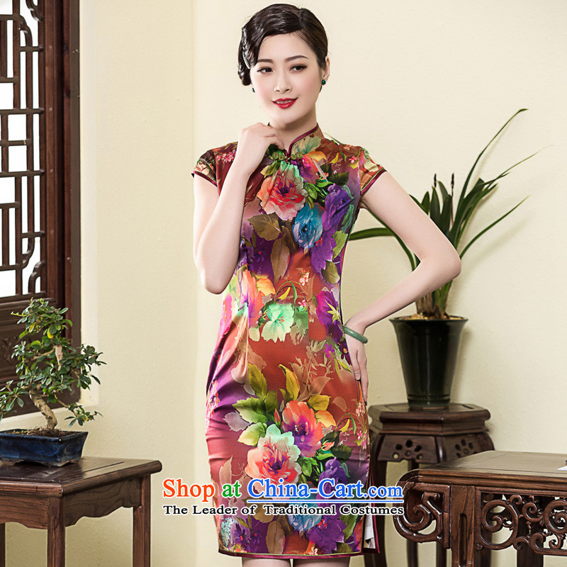 The autumn 2015 decreased by new republic of korea Wind Flower heavyweight Silk Cheongsam daily retro Ms. banquet qipao skirt picture color?XXL