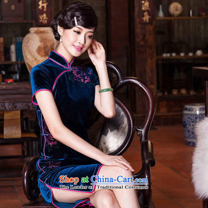 The Seal of upscale scouring pads nail Pearl 2015 hand-painted daily cheongsam look elegant improved national cheongsam dress燛399 Dutch blue燣 purple blue-red pre-sale 20 Days