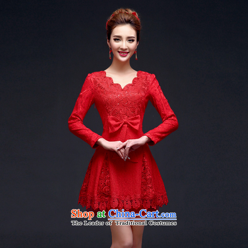 The new 2015 autumn and winter red bride wedding dress stylish long-sleeved back to door service long-sleeved) bows qipao?L