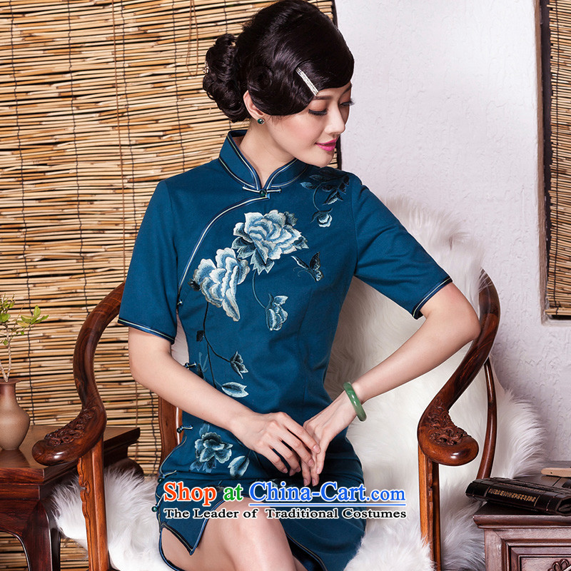 The seal of the燱inter 2015 New banquet embroidery high-end cheongsam look elegant improvement by Ms. Cuff Color Picture skirt qipao燲L
