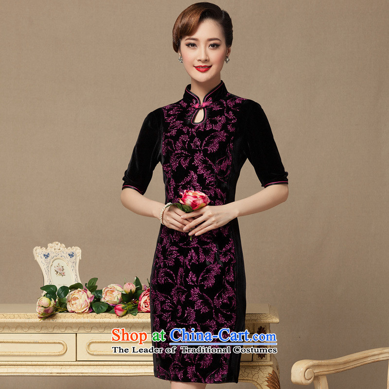 The seal of the new 2015 wedding dresses really qipao scouring pads on Silk Cheongsam Kim scouring pads upscale antique dresses picture color聽XL