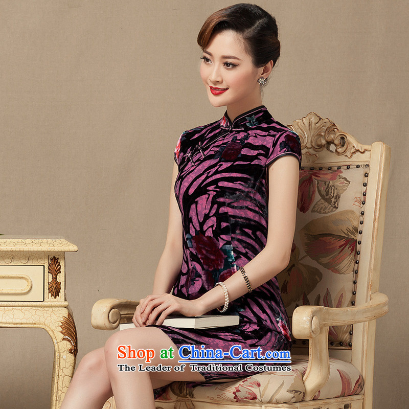 The seal of the Summer 2015 Ms. new short cheongsam silk cheongsam dress burned lint-free daily dinner dress photo improved color?S