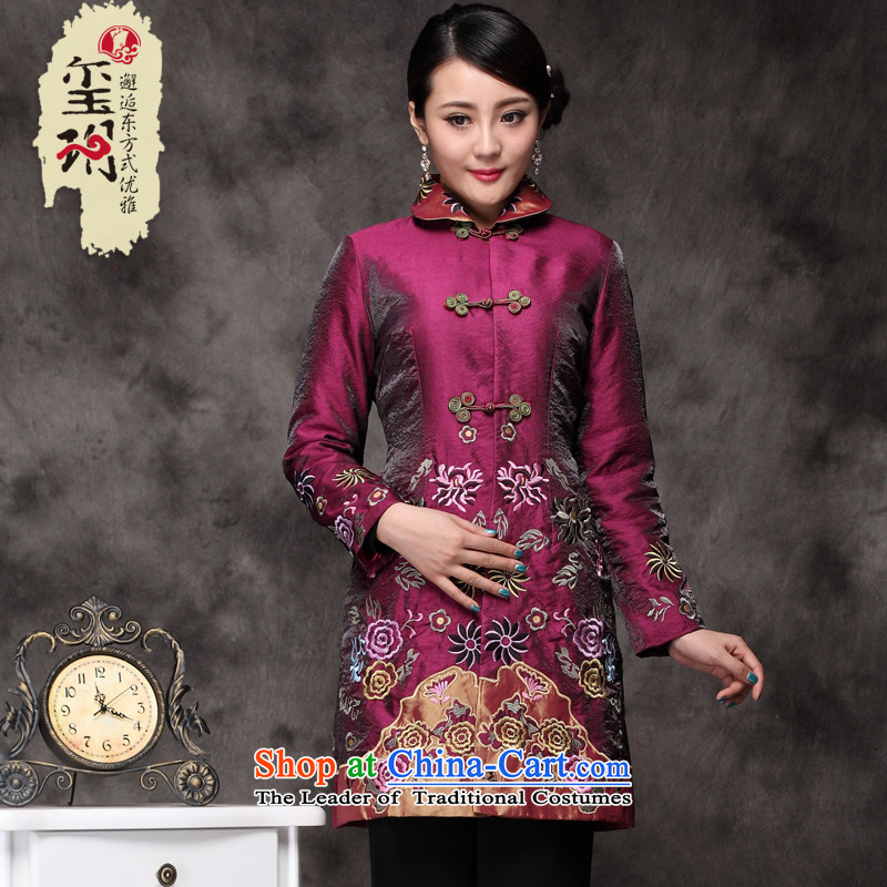 The Seal of?2015 autumn and winter Tang dynasty Great national codes jacket Ms. retro fitted Chinese embroidery shirts mother tray clip the red?XXXL