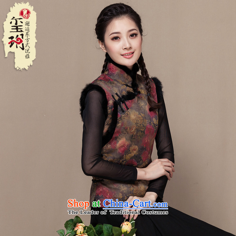 The seal of the Winter 2015 new cloud of incense yarn retro Tang vests silk Chinese qipao-T-shirt, a picture color M