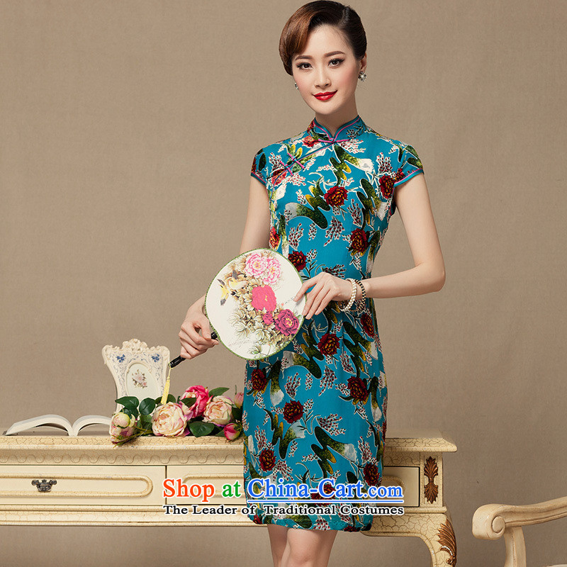 The Seal of�2015 Summer scouring pads qipao gown improved day-to-day China wind flocking retro qipao skirt blue�XXXL Ms.