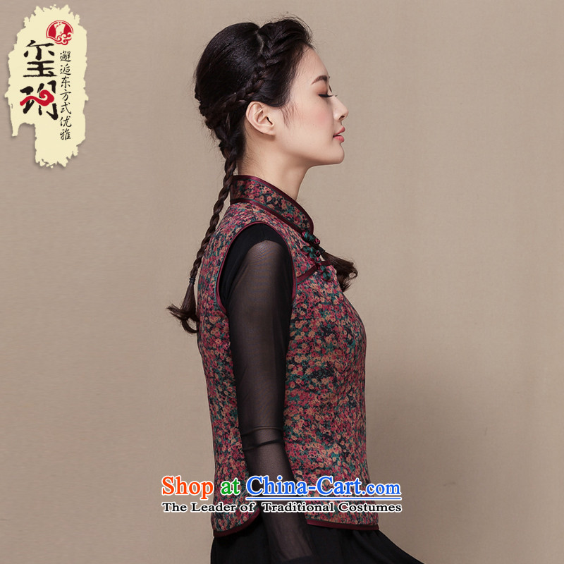 The seal of the Winter 2015 new ethnic Tang dynasty, a vest Heung-cloud yarn saika cotton shirt disc folder qipao deduction SAIKA XL