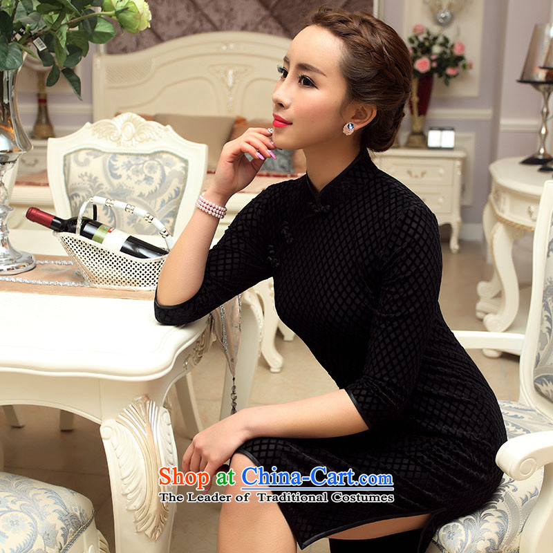 The Republic of Korea decreased by Ms. retro seal qipao temperament, fall short of Chinese cheongsam dress really scouring pads improved black sleeve-to-day?M pre-sale for ten days