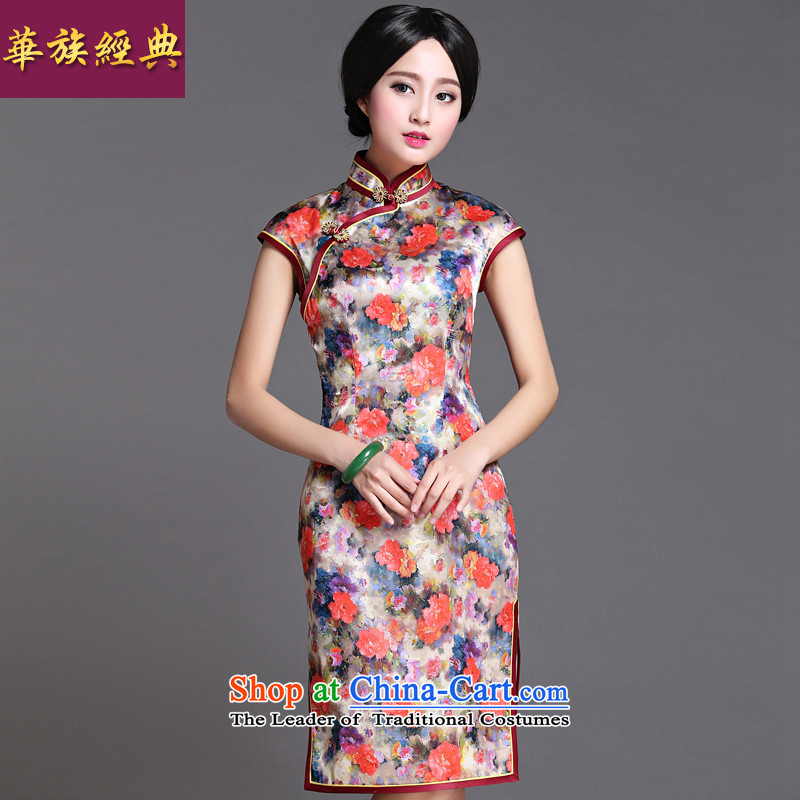 Chinese New Year 2015 classic ethnic retro Ms. daily cheongsam dress improved Stylish spring and summer short of Sau San XXXL Murong cloud