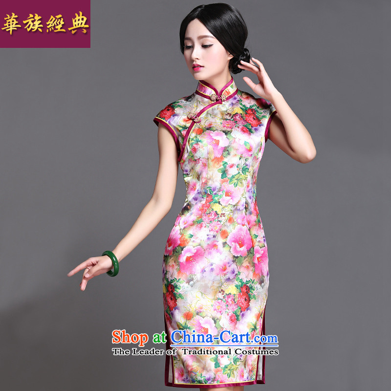 China Ethnic classic 2015 spring/summer daily Chinese qipao Ms. Sau San skirt Fashion arts short of improved Chun Tao?XXXL