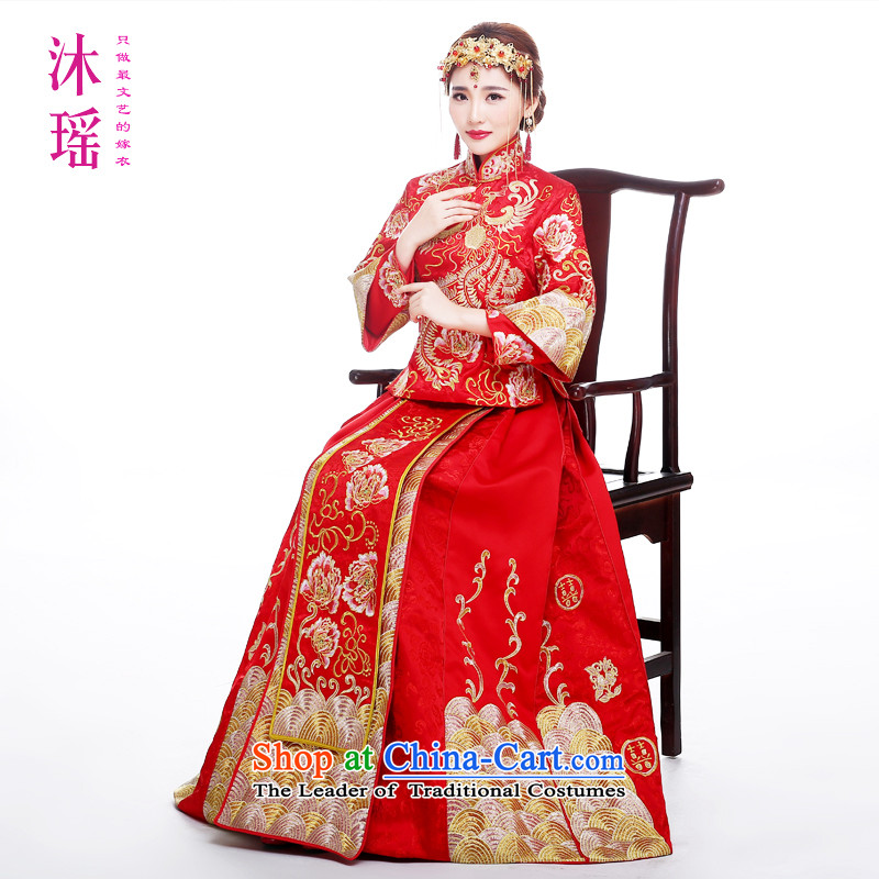 Bathing in the? same brides angelbaby Yao Feng-soo wo service use summer bride bows services 2015 new ancient ceremonial dress wedding gown of luxury Chinese embroidery?S ?breast in length and 84cm