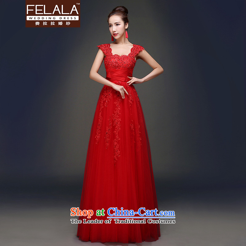 Ferrara in spring and summer 2015 new sweet two wearing shoulder a shoulder graphics thin video field high toasting champagne served dress M Suzhou Shipment