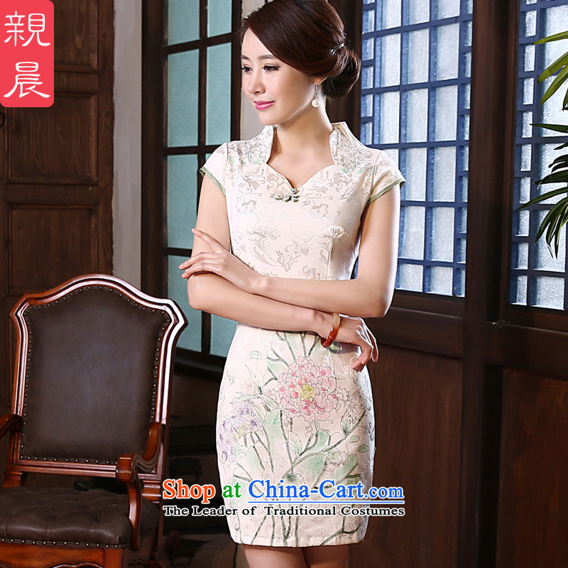 �� pro-am- 2015 new fall short of the improved daily Sau San Stylish retro short-sleeved qipao temperament dresses white - 10 days of?L-waist 73cm