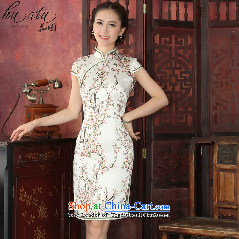 Figure for summer flowers cheongsam new women's Chinese improved Mock-neck herbs extract retro cheongsam Silk Cheongsam Dress Short Chun Tao Chun Tao color?L