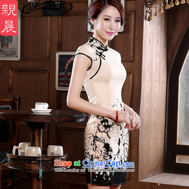At 2015 new pro-to-day short of autumn retro improved stylish short-sleeved   of the forklift truck girls cheongsam dress white?2XL- waist 80cm--10 day shipping