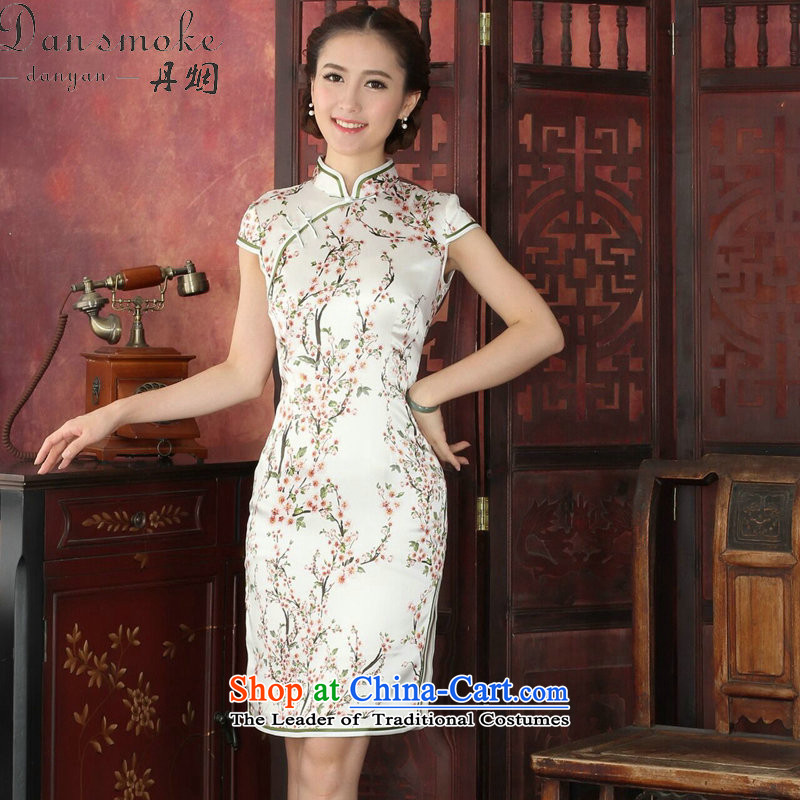 Dan smoke summer qipao new women's Chinese improved Mock-neck herbs extract retro cheongsam Silk Cheongsam Dress Short Chun Tao Chun Tao color聽M