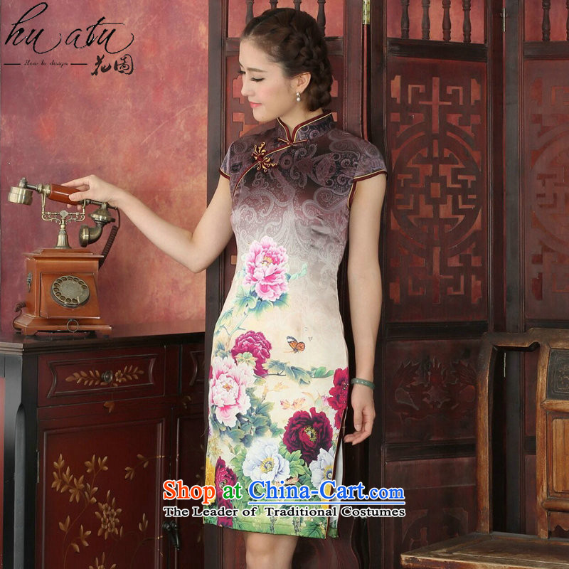 Floral Silk Cheongsam summer positioning qipao state color Tianxiang Mudan herbs extract qipao qipao gown of retro-color Tianxiang Mudan�M