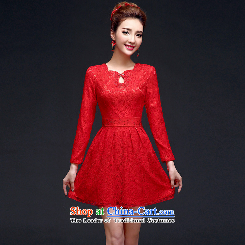 The privilege of serving-leung 2015 new bride of autumn and winter red wedding dress long-sleeved lace back to door service long-sleeved_ bows qipao M-40