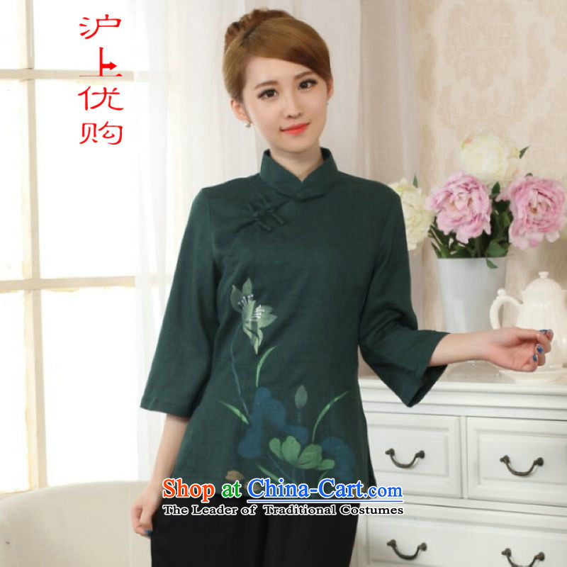 On female ipo optimize Tang Women's clothes summer shirt collar is pressed to hand-painted Chinese Han-cotton linen dress improved green�L