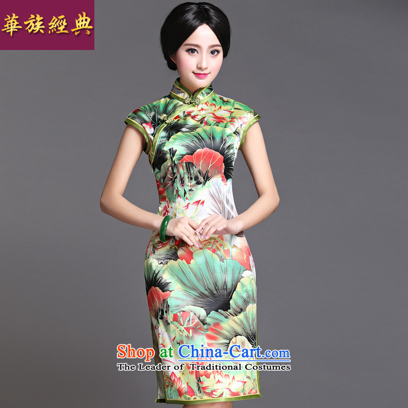 Chinese classic 2015 Ms. summer-Tang dynasty daily cheongsam dress retro improved graphics thin, stylish Sau San in green?M
