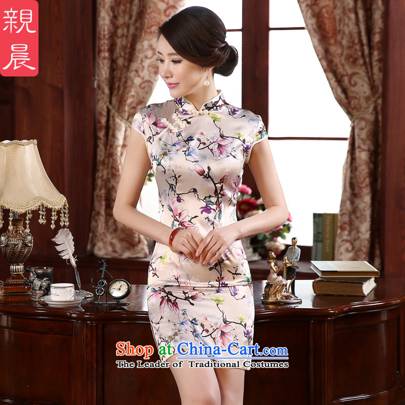 The new 2015 pro-morning autumn replacing retro style short of Sau San improved short-sleeve of the forklift truck girls cheongsam dress White?XL-waist 77cm Hold