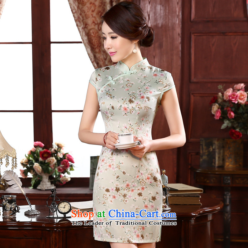 The pro-am daily autumn 2015 new retro Sau San short stylish improved girls short-sleeve of the forklift truck cheongsam dress short,聽L-waist 73cm