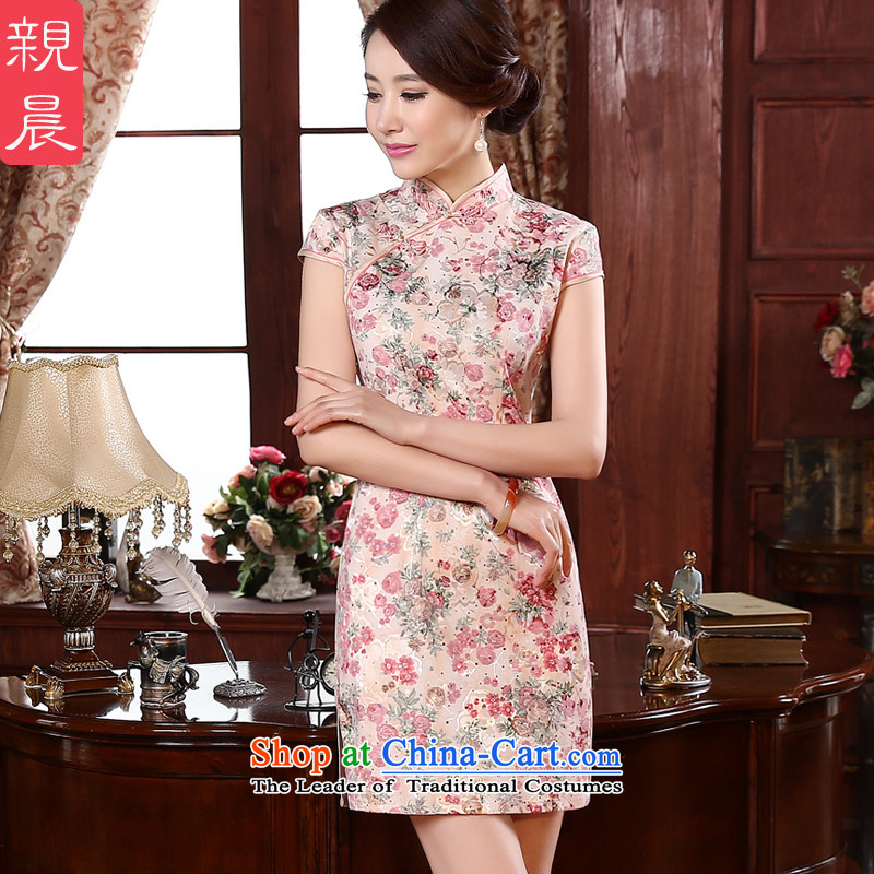 At 2015 new pro-fall short of Sau San improvements retro style daily short-sleeved girls of the forklift truck cheongsam dress red?S-waist 67cm