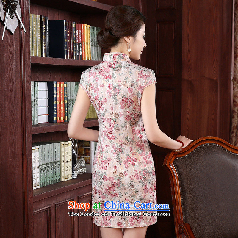 At 2015 new pro-fall short of Sau San improvements retro style daily short-sleeved girls of the forklift truck cheongsam dress red聽S-waist 67cm, pro-am , , , shopping on the Internet