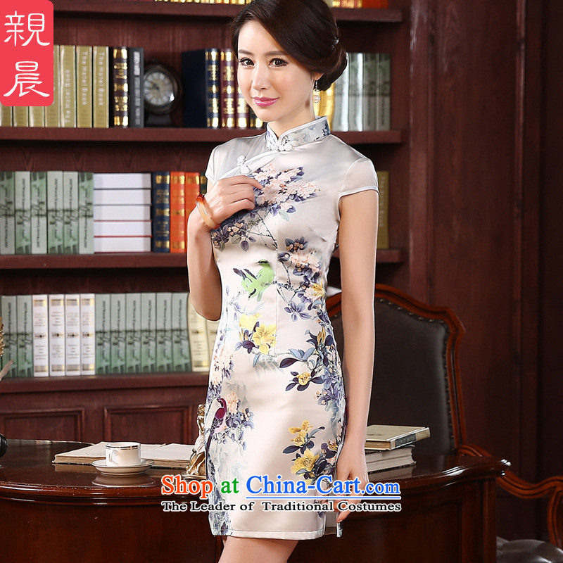 At 2015 new pro-chiu daily improved stylish short of Sau San short-sleeved retro girls of the forklift truck cheongsam dress light gray聽2XL- waist 80 cm