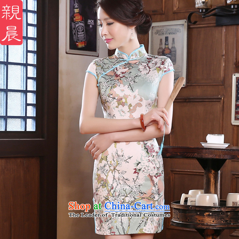 The pro-am daily autumn 2015 new short of Sau San retro improved stylish short-sleeved girls of the forklift truck cheongsam dress light blue聽L-waist 73cm