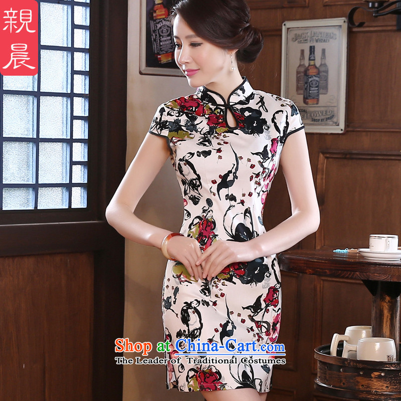 The new 2015 pro-morning daily fall short of the improved Stylish retro short-sleeve on the breast of the forklift truck girls cheongsam dress suit聽2XL- waist 80 cm
