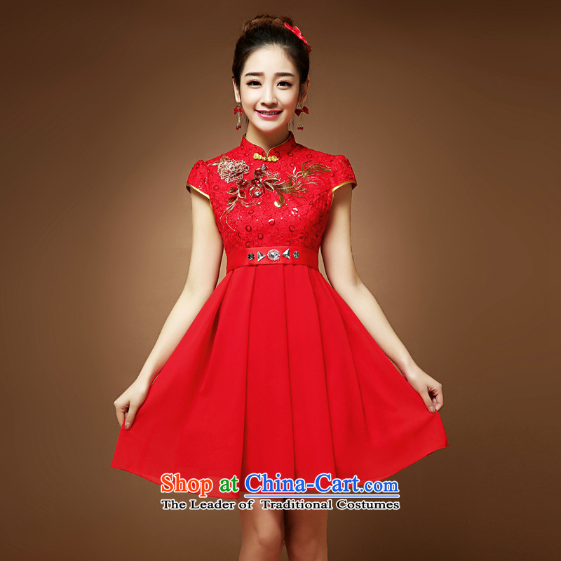 In the summer and autumn Chinese bride Summer Wedding dress red bows to thick MM high waist pregnant women cheongsam short-sleeved short skirts燲L