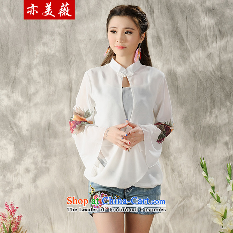 Matami Ng 2015 Spring_Summer new national wind long-sleeved shirt qipao hand-painted White XXL